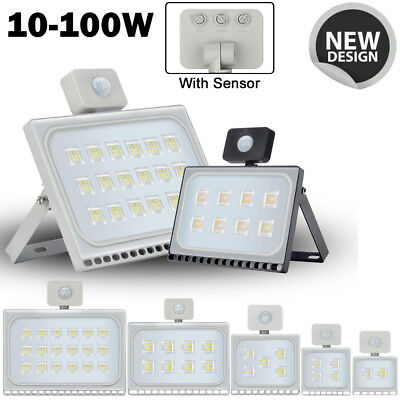 100W 50W 30W 20W 10W LED Flood Light w/ PIR Motion Sensor Outdoor Security Lamp