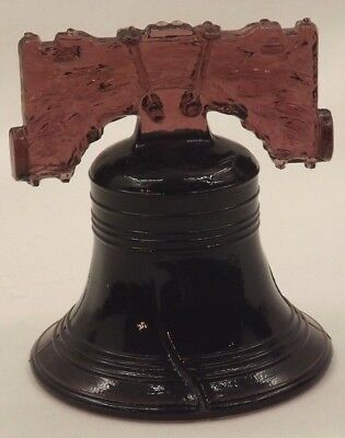 "Vintage 3 1/2"" Solid Glass Hand Blown Liberty Bell Very Detailed Heavy Very Rare"