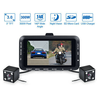 "3"" LCD Waterproof Motorcycle DVR HD Action Camera Dual Lens 1080P Video Recorder"