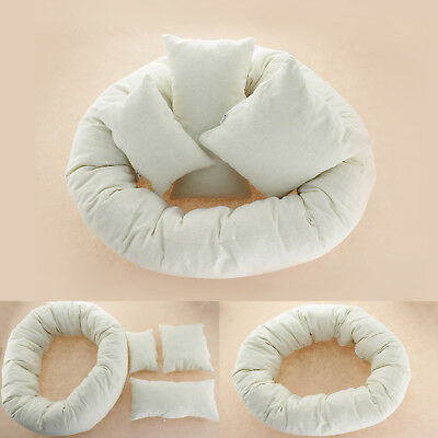 4PCS/Set Newborn Baby Photography Pillow Basket Filler Wheat Donut Posing Props