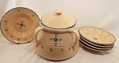Large Ceramic Soup Tureen w/Bowls-Made in Italy for Neiman Marcus-Hand Painted