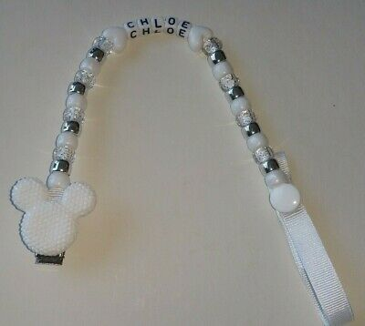 Baby Girl/boy White/silver Mickey/minnie Mouse Personalised Dummy Holder Clip