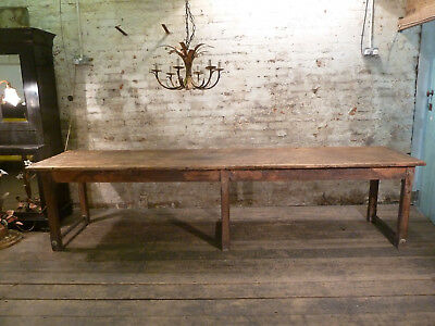 Large French Oak & Pine 3m in Length Antique Kitchen Table Vintage Circa 1900