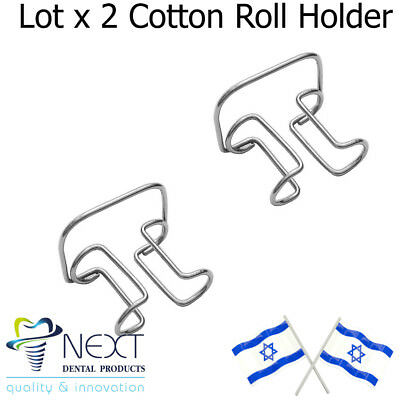 Lot x 2 cotton roll holder fixation of rolls during dental procedures metal