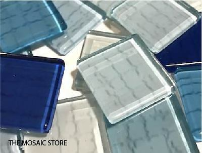 Blue Textured Glass Tiles 2.5cm - Mosaic Tiles Supplies Art Craft