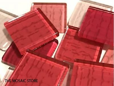 Pink Textured Handmade Glass Tiles 2.5cm - Mosaic Tiles Supplies Art Craft