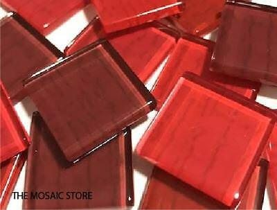 Red Textured Handmade Glass Tiles 2.5cm - Mosaic Tiles Supplies Art Craft