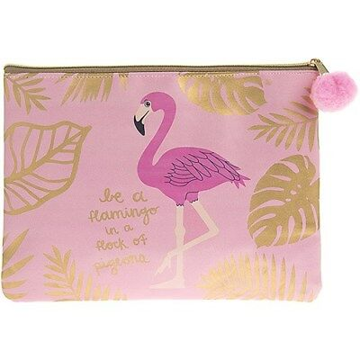 Pink Flamingo Make Up Cosmetic Bag