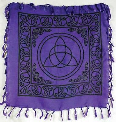 """18"""" Purple Charmed Triquetra Altar Cloth Wiccan Pagan Altar Supply #86"""