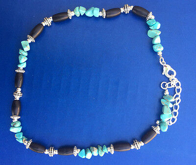 Western Jewelry Faux Turquoise/Bead Boot Bracelet W/Adjustable Chain