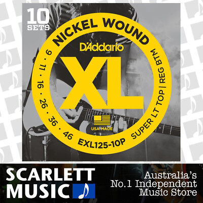 D'addario EXL125-10P 10 Sets Nickel Wound Electric Guitar Strings Daddario 9-46