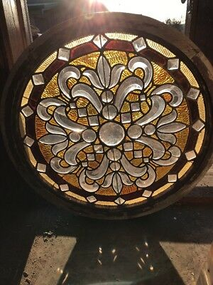 Sg 2135 Gorgeous Antique Round Beveled Jeweled Combo Window 27.25 Diameter