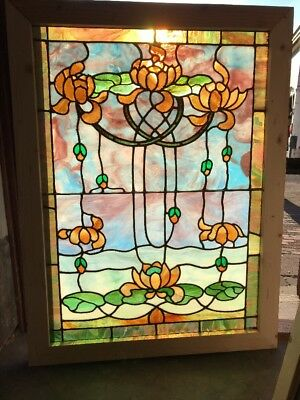 Sg 2136 Antique Art Nouveau Landing Window Stained Glass 30. 5 X 40.5 H