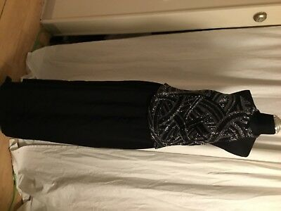 WOMAN'S CAMERON BLAKE FOR MON CHERi BLACK HALTER EVENING GOWN WITH JACKET 14