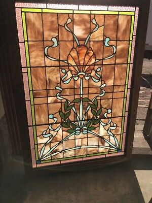 Sg 2138 Antique Stainglass Landing Window 29.75 X 40.75