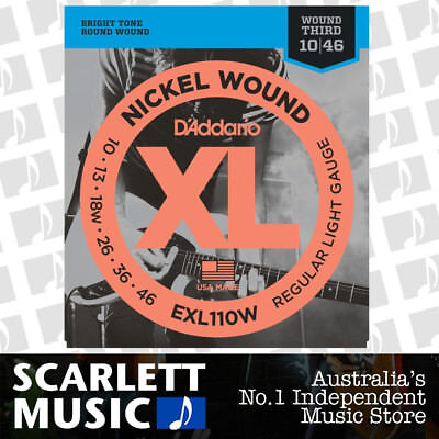 D'addario EXL110W Regular Light Wound 3rd Electric Guitar Strings Daddario 10-46