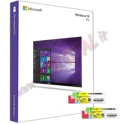 MICROSOFT WINDOWS 10 PROFESSIONAL PACK DVD COA ADESIVO WIN PRO x32 x64 x86 bit