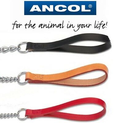 Ancol Dog Heavy Duty Chain Lead with Strong Leather Handle & Trigger Hook
