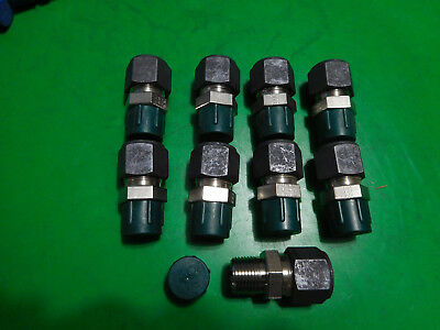 """LOT: 9 new Parker 8-6 FBZ-SS male connectors 1/2"""" tube x 3/8"""" MNPT 316 stainless"""