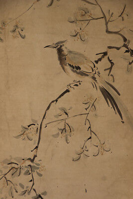 "JAPANESE HANGING SCROLL ART Painting ""Bird and Flower"" Asian antique  #E1302"