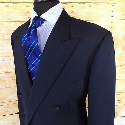 EXCEPTIONAL Corneliani Made in ITALY Navy Blue Mens Wool Pk Lapel Suit DB 46L