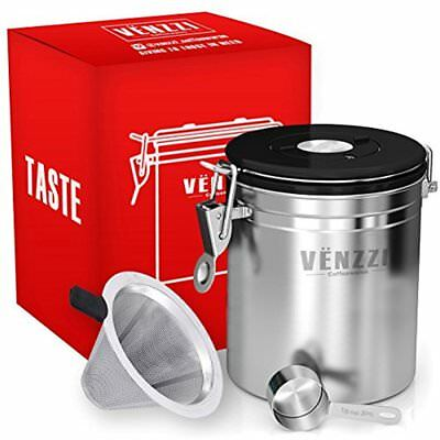 Airtight Coffee Canister Large 16 Oz By Storage Vault Stainless Steel With Co2