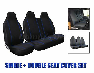 Black Blue Trim Front Single Double Van Seat Covers For VOLKSWAGEN VW Crafter