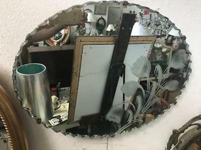 Small Art Deco Oval Mirror With A  Scalloped Edge And Etched Design 46 X 36 Cm