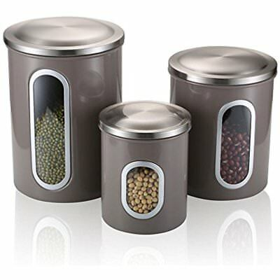 Fortune Candy Airtight Kitchen Canisters Set Of 3,Nested Food Storage With Steel