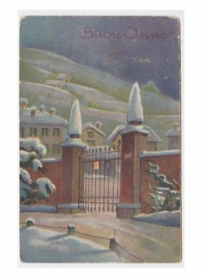 Card C.G.Tableware D'Epoca Happy Year Country Snowy Gate Iron Wrought