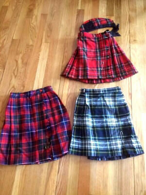 Set of Three Children's Kilts, Two Authentic from Ireland, One US Made.