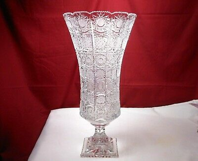 "Antique American Brilliant Cut Crystal Vase Signed Pedestal Base Queen Lace 17""T"