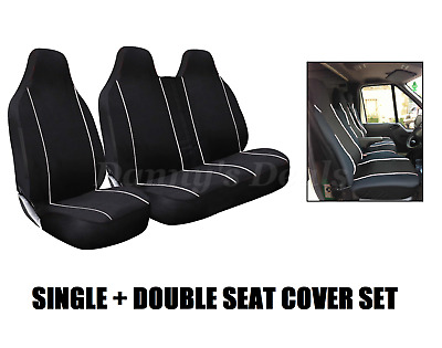 Black White Trim Front Single Double Van Seat Covers Set For VOLKSWAGEN VW LT35