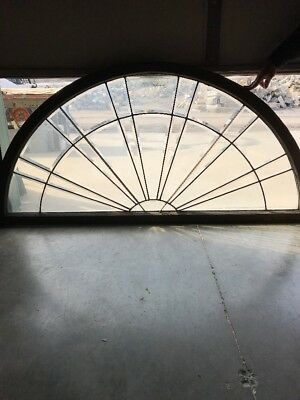 An Arched Antique All Beveled Glass Sunray Transom 35.5 X 73