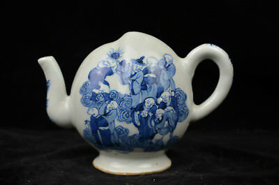 Beautiful chinese blue and white porcelain wine pot teapot
