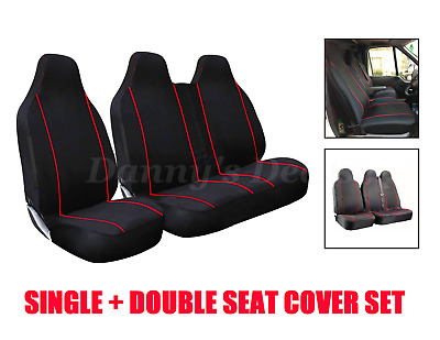 Black Red Trim Front 2+1 Van Seat Covers Set For Volkswagen VW Caddy 15 on