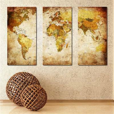 Frameless Home Decor Huge Wall Art Oil Painting On Canvas World Map