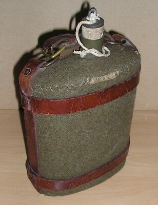 WW-II British Home Guard Officer's Water Bottle with Leather Carrier...