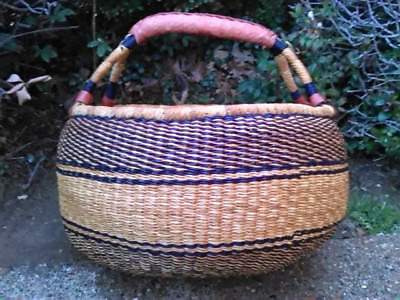 CLEARANCE Large AUTHENTHIC Handmade Ghana BOLGA Market Basket w/ Leather Handle
