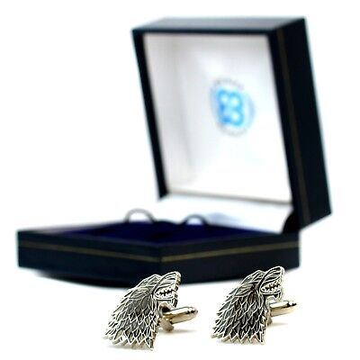 Game Of Thrones Dire Wolf House Stark Sigil Pair Of Cufflinks Westeros in Gift B