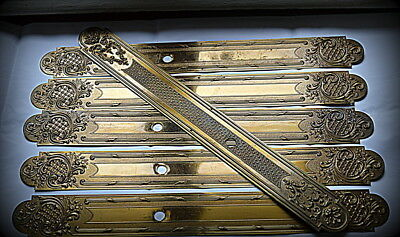 Antique French Set of 5 + 1 long Door Knob BackPlate Finger Plate Castle Chateau
