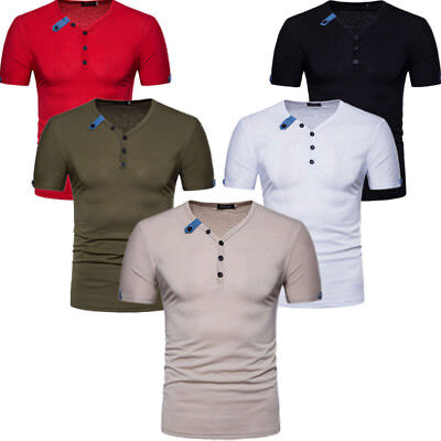 Men's Button Short Sleeve T-shirt Slim Fit Casual Shirts V Neck Cotton Tees Tops