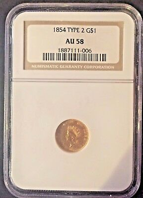 1854 Type 2 Indian Princess Small Head Gold Dollar $1 AU 58 NGC