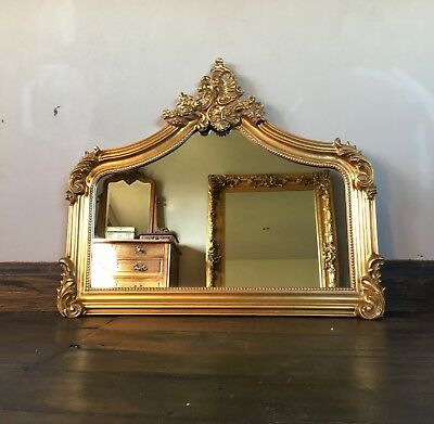 Antique Gold Gilt French Ornate Over Mantle Arched Scroll Vintage Wall Mirror