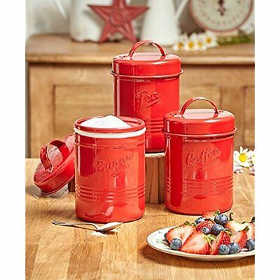 Vintage Set Of 3 Red Metal Kitchen Canisters. Made From Steel. Tea, Sugar,