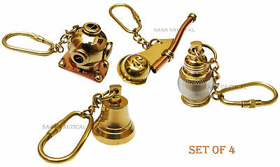Nautical Set Of Four Keychain /Diving Helmet/Whistle/Lantern/Ship Bell Keyring