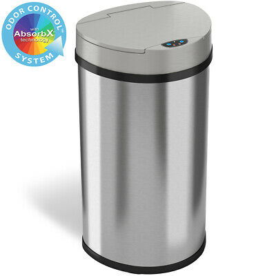 13 Gallon Semi-Round Extra-Wide Opening Touchless Sensor Trash Can Kitchen 50R