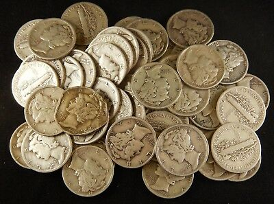 Lot of 351 Mercury and Roosevelt Dimes 1964 or older (59512,14,16,19)