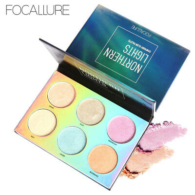 6 Color 3D Highlighter Face Powder Palette Eye Shadow Bronzer Gold Pink Beauty