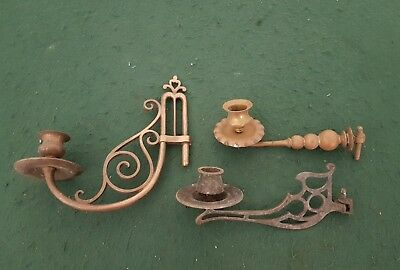 Job lot of 3 Vintage Brass & Plated Wall Candle Holders Candlesticks